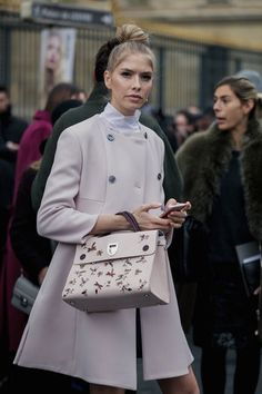 Elena Perminova in Dior - Fall 2016 Paris Fashion Week Street Style - March 2016 #pfw