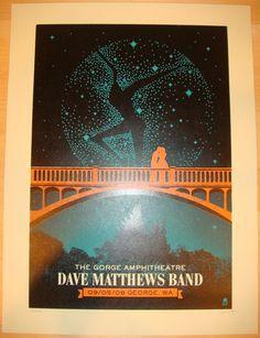 Dave matthews poster | 2009 Dave Matthews Band - Gorge II Concert Poster by Methane. LOVE ❤️
