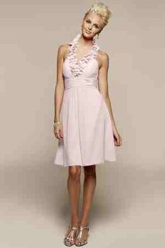 Maid of honor dress in petal pink