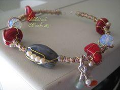 Colored stones bracelet, emerald, red  coral, oppalite, aventurin, pearls, memory wire, silver wire, copper wire