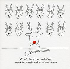 Funny Christmas Cards - Other Reindeer Used To Call Him Names