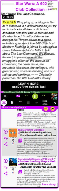 #TV #PODCAST  Star Wars: A 602 Club Collection - Trek.fm    Star Wars: The Last Command.    LISTEN...  http://podDVR.COM/?c=d3de878b-22ab-eef8-2d4b-f83d234f40b1