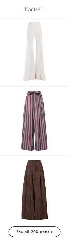 """""""Pants#1"""" by julidrops ❤ liked on Polyvore featuring pants, balmain, flared trousers, wide-leg pants, white pants, white flared pants, flared pants, trousers, cotton trousers and cotton pants"""