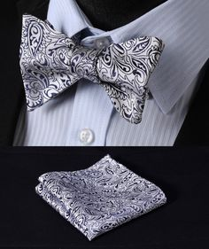 >> Click to Buy << BF2019V Navy Blue Floral 100%Silk Jacquard Woven Men Butterfly Self Bow Tie BowTie Pocket Square Handkerchief Hanky Suit Set #Affiliate