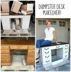Dumpster Desk Makeover using CeCe Caldwell's 100% Natural Chalk + Clay Based Paints.  So easy to makeover old junk!  REDOUXINTERIORS.COM FACEBOOK: REDOUX INSTAGRAM: REDOUXINTERIORS