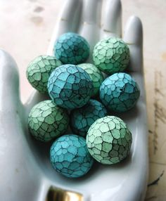 Polymer Clay Beads - Rustic Facets - Seafoam and Turquoise