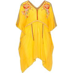 Johnny Was Yellow Plus Size Embroidered tunic ($325) ❤ liked on Polyvore featuring tops, tunics, plus size, yellow, yellow top, womens plus tunics, boho tops, johnny was tunic and summer tops