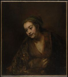 "Rembrandt (Rembrandt van Rijn) (Dutch, Leiden 1606–1669 Amsterdam). Hendrickje Stoffels (1626–1663), mid-1650s. The Metropolitan Museum of Art, New York. Gift of Archer M. Huntington, in memory of his father, Collis Potter Huntington, 1926(26.101.9) | This work is exhibited in the ""Unfinished: Thoughts Left Invisible"" exhibition, on view through September 4th, 2016. #MetBreuer"