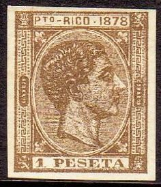 """""""One Peseta"""" Stamp ~ Puerto Rico, at the time of Spanish government."""