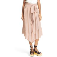 Women's See By Chloe Ruffle Crop Pants (540 CAD) ❤ liked on Polyvore featuring pants, capris, powder, cropped pants, tie pants, pink pants, wide leg trousers and loose pants