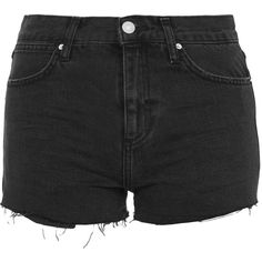 TOPSHOP MOTO Rosa Shorts (325 NOK) ❤ liked on Polyvore featuring shorts, washed black, black distressed shorts, torn shorts, distressed shorts, topshop and ripped shorts