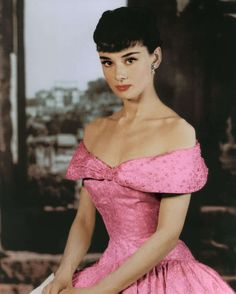 Hepburn in Roman Holiday, 1954 (well, the dress wasn't REALLY pink, but I just know Audrey wished it had been....