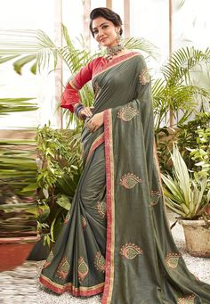 Buy Mehndi Chanderi Silk Festival Wear Saree 201620 with blouse online at lowest price from vast collection of sarees at Indianclothstore.com. Chanderi Silk Saree, Lehenga Choli, Sari, Green Silk, Pink Silk, New Fashion Saree, Celebrity Gowns, Neck Deep, Trendy Sarees