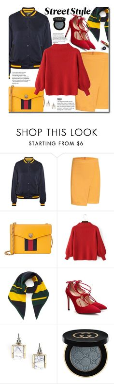 """Yoins Color Block"" by beebeely-look ❤ liked on Polyvore featuring DKNY, Gucci, Mulberry, Chanel, StreetStyle, streetwear, bomberjackets, StreetChic and yoins"
