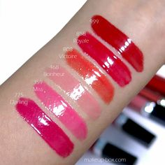 Dior Rouge Dior Brillant Swatches and review! 775 Darling 359 Miss 468 Bonheur 808 Victoire 858 Royale 999