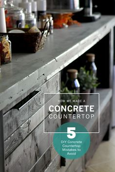 How to make a DIY concrete countertop like one for a coffee bar top. Plus, 5 DIY concrete countertop mistakes to avoid.