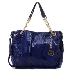 MICHAEL Michael Kors Jet Set Chain Python-embossed Shoulder Tote Dark Blue