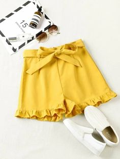 ((Affiliate Link)) Description Style:	Boho Color:	Yellow Pattern Type:	Plain Details:	Belted, Ruffle Hem Type:	Wide Leg Season:	Summer Composition:	100% Polyester Material:	Polyester Fabric:	Non-stretch Sheer:	No Fit Type:	Loose Waist Type:	High Waist Closure Type:	Zipper Fly Belt:	Yes