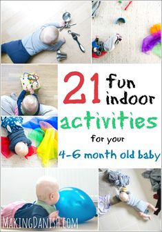 21 fun indoor activities for your month old baby that will keep your little one happy and entertained while supporting his or hers development. These easy activities require no fancy toys, equipment or any real preperation, so no reason to postpone the 6 Months Old Activities, 4 Month Old Baby Activities, Fun Indoor Activities, Infant Activities, Activities For Babies Under One, Baby Activity, Baby Monat Für Monat, Baby Lernen, Baby Sensory Play