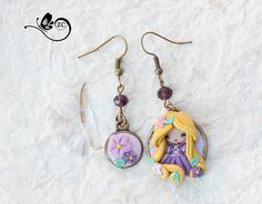 earrings clay / polymer clay / clay doll / fimo/ rapunzel/ princess/ disney