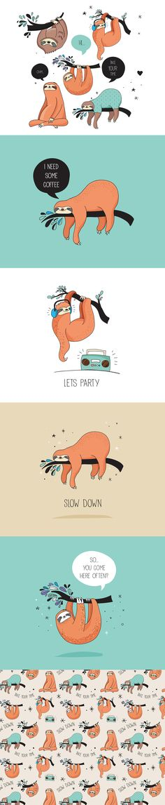 Cute sloths collection on Behance