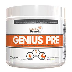 Genius Pre Workout – All Natural Nootropic Preworkout Powder & Caffeine-Free Nitric Oxide Booster with Beta Alanine and Alpha GPC - Focus, Energy and Muscle Building Supplement, Grape Limeade, Best Pre Workout Supplement, Good Pre Workout, Best Weight Loss Supplement, Weight Loss Supplements, Nutritional Supplements, Crossfit Diet, Nitric Oxide Supplements, Beta Alanine, Muscle Building Supplements