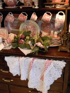 english country decor on pinterest | English Country Decor / .Dark Wood hutch and dishes