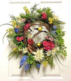 Spring Wreath, Silk Floral Wreath, Front Door Wreath, Spring Decor, Bird Wreath, Easter Wreath, Outdoor Wreath, Grapevine Wreath,Etsy Wreath