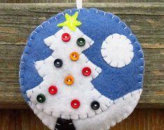 Felt Christmas Ornament   Christmas decor   Blue and white   Rustic Christmas Ornament   Christmas Tree   Holiday Decor - Ready to ship