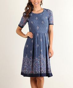 Another great find on #zulily! Blue & Red Paisley Fit & Flare Dress #zulilyfinds