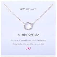 Beautiful Joma jewellery a little KARMA silver plated necklace now £11.99 from Lizzielane.com http://www.lizzielane.com/product/joma-jewellery-little-karma-silver-plated-necklace/