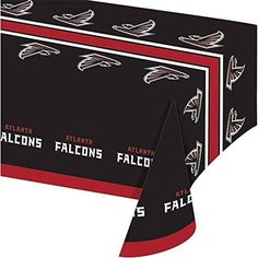 54 X 102 NFL Falcons Tablecloth Football Themed Rectangle Table Cover Sports Patterned Team Color Logo Fan Merchandise Athletic Spirit Black Red Plastic