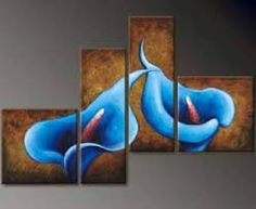 4194 handpainted 4 pieces modern oil painting on canvas wall art pictures for home decor as unique gift brown blue calla lily Lily Painting, Modern Oil Painting, Oil Painting Flowers, Oil Painting Abstract, Abstract Canvas, Canvas Wall Art, Painting Art, Multiple Canvas Paintings, Multi Canvas Painting