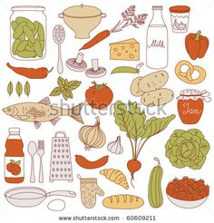stock vector : Set of food, vector illustration
