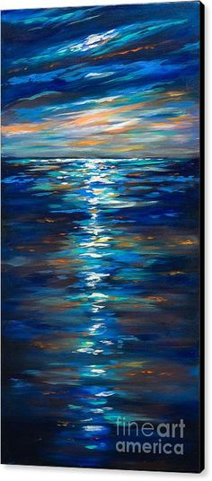 Ocean Canvas Print featuring the painting Dusk On The Ocean by Linda Olsen