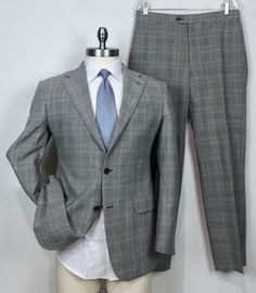 66d914042 Hickey Freeman Recent Prince of Wales Plaid Slim Fit Suit 40R - Pants 33 x  30