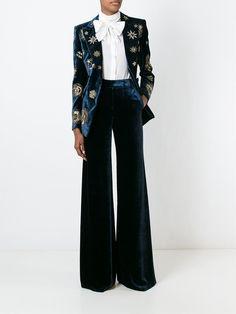 Emilio Pucci Zodiac Embellished Velvet Blazer - Tiziana Fausti - Farfetch.com Never mind the jacket, how about those pants?