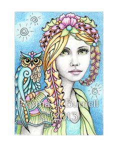 "Hand embellished Fine art PRINT of original ACEO drawing by Norma J Burnell - ""Willow & Wisp"" http://www.ebay.com/itm/171100081100?ssPageName=STRK:MESELX:IT&_trksid=p3984.m1555.l2649"