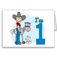 Stick Cowboy 1st Birthday Fill-in Invitations Stationery Note Card and birthday set, shirts, buttons, stickers, stamps.