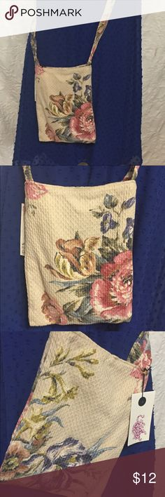 """Cross Body Floral Print Fabric Purse- Handmade Cross body fabric purse. Handmade from vintage fabric and great for travel and any time you want to keep things simple. Purse measures 7"""" X 9"""" and strap is 49"""" end to end. Please feel free to contact me with any questions Handmade Bags Crossbody Bags"""