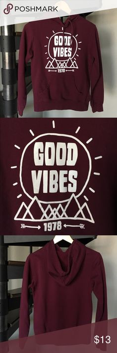 Empyre Good Vibes 1978 maroon burgundy hoodie Sz M V cute little hoodie! Fitted size medium - would easily fit size small. By Zumiez Empyre. No rips or stains! Empyre Tops Sweatshirts & Hoodies