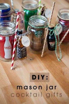 So freaking cute - you just have to see them! Wrap up a mason jar drinking mug, soda and a mini bottle of alcohol for a darling DIY cocktail gift!