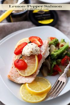 Lemon-Pepper Salmon in Foil | www.diethood.com | Baked-in-foil Salmon fillets topped with Private Selection Lemon-Pepper Butter, lemon slices, grape tomatoes and fresh thyme. | #recipe #privateselection #salmon #fish