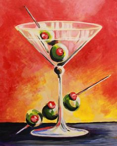 martini painting | Road Show - The Dirty Martini | Wicked Art Bar #abstractart