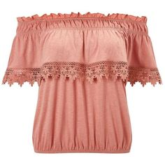Miss Selfridge Pink Bardot Crochet Frill Top ($18) ❤ liked on Polyvore featuring tops, off the shoulder tops, peach, red top, pink ruffle top, ruffle top, red crochet top and flounce tops