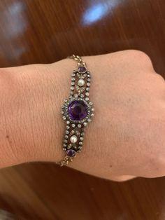 Amethyst Bracelet, Pearl Bracelet, Pearl Jewelry, Gemstone Jewelry, Victorian Gold, Victorian Era, Antique Gold, Antique Jewelry, Rose Cut Diamond