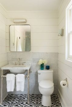 Beautiful bathroom! Love the material mixture, porcelain and cement look contrasted with large decorative tiles. Check out this awesome listing on Airbnb: Nyala Farm - one hour from NYC - Houses for Rent in Easton