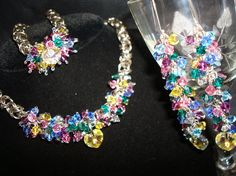 SOLD!! This set is about to expire in my shop.......use code Use Coupon Code FACEBOOK50OFF ....and get it for 1/2 price Saturday April 8 ONLY!!     Swarovski Crystal Necklace Earrings Bracelet Set by superioragates, $84.99