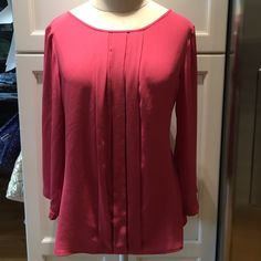LOFT raspberry pink blouse LOFT raspberry pink flowy blouse with 3/4 sleeves-  gently worn, size LP LOFT Tops Blouses