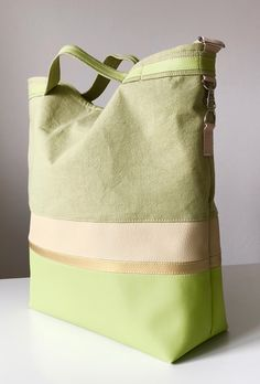 canvas and leather handbag, gold, green Designer Purses And Handbags, Purses And Bags, Bags Online Shopping, Sack Bag, Tote Pattern, How To Make Handbags, Denim Bag, Fabric Bags, Cotton Bag